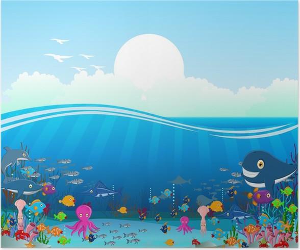 Póster Mar De Fondo De Dibujos Animados La Vida