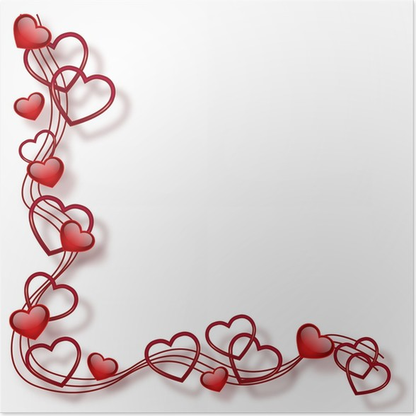 Póster Marco con corazones • Pixers® - Vivimos para cambiar