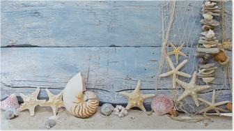 Maritimer Hintergrund: Strandgut, Muscheln und Seesterne Poster