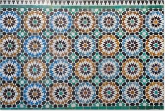 Poster Marokkaanse vintage tegel achtergrond