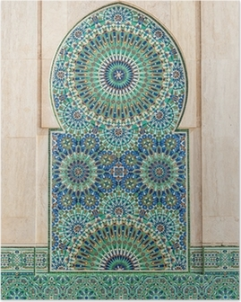 Póster Marroquí de fondo de azulejos de época