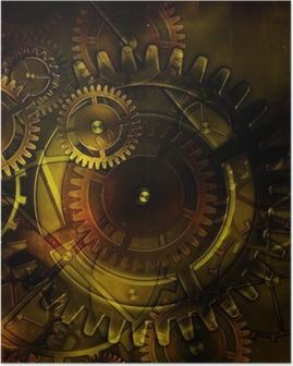 Poster Mécanisme d'engrenage vieux steampunk sur fond de vieux pa cru