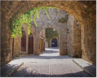 Medieval arched street in the old town of Rhodes, Greece Poster