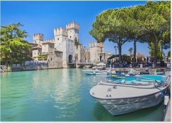 medieval castle Sirmione on lake Lago di Garda Poster