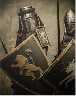 Medieval knights on grey background Poster