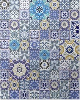 Poster Mega motif patchwork transparente de carreaux marocains colorés