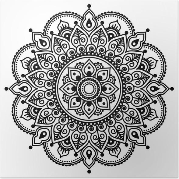 poster mehndi henné indien motif de tatouage ou de fond
