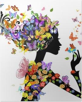 Poster Meisje, mode, bloemen met vlinders