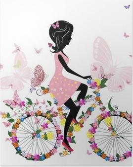 Poster Meisje op een fiets met een romantische vlinders