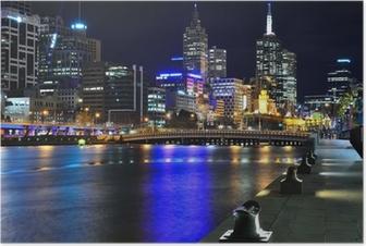 Melbourne mit Skyline und Yarra River Poster