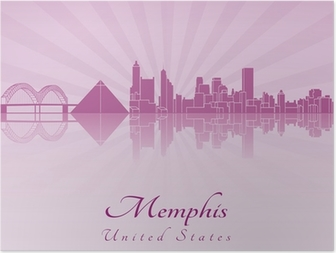 Poster Memphis skyline in paars stralend orchidee