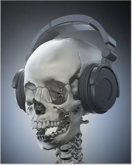 Poster Menselijke schedel met een hoofdtelefoon