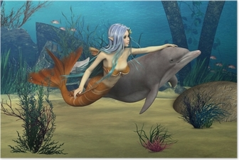 Poster Mermaid en Dolphin