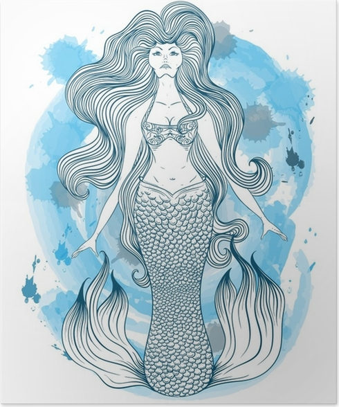 Mermaid with beautiful hair tattoo art retro banner invitation retro banner invitationcard scrap booking t shirt bag postcard poster vintage highly detailed hand drawn vector illustration on watercolor stopboris