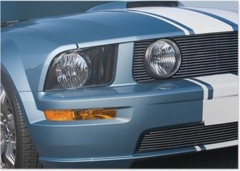 Metallic blue modern American muscle car Poster