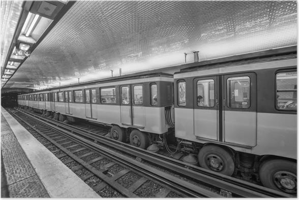 Metro train in Paris. Underground parisian scene - France Poster ...