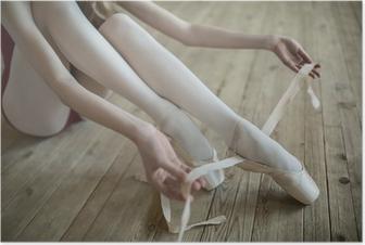 Poster Mettre des chaussures de ballet