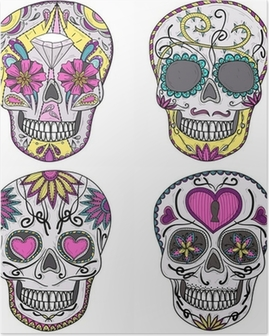 Mexican skull set. Colorful skulls with flower and heart ornamen Poster