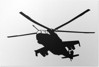 Poster Mi-24 (Hind) hélicoptère silhouette