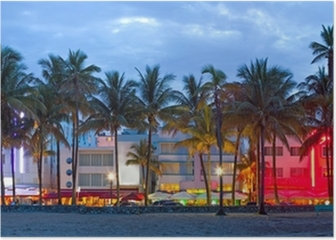 Miami Beach, Florida hotels and restaurants at sunset Poster