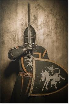 Poster Middeleeuwse ridder met zwaard in de voorkant van zijn gezicht
