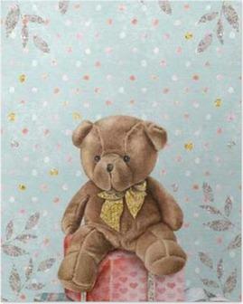 Poster Mignon Aquarelle Teddy Bear avec des boîtes-cadeaux