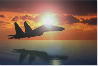 Military Aircraft Flying on Bright Sun Poster