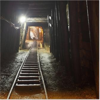 Mine railway in undergroud. Poster