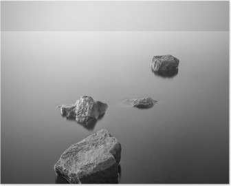 Minimalist misty landscape. Black and white. Poster
