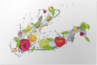 Mix of fruit in water splash, isolated on white background Poster