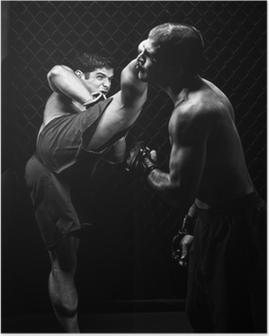 Poster MMA - Mixed martial kunstenaars vechten - schoppen
