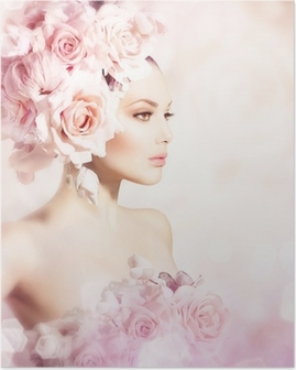 Poster Mode Beauty Model Girl with Flowers Haar. Bruid