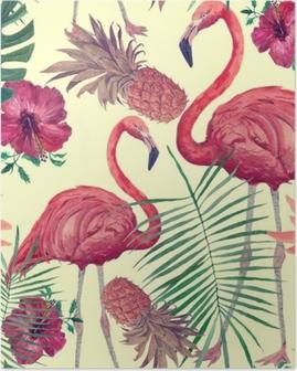 Poster Modèle aquarelle transparente avec flamant, feuilles, fleurs. hanad dessiné.