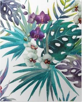 Poster Modèle de feuilles d'hibiscus orchidée, aquarelle