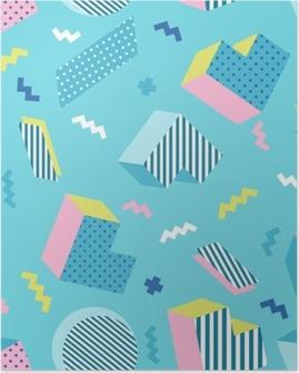 Poster Modèle de fond bleu géométrique coloré old school sans couture, style de conception de memphis. illustration vectorielle