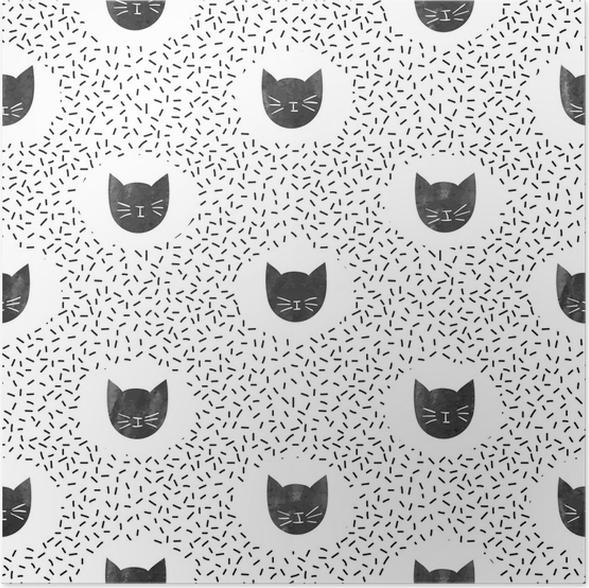 Poster Modèle de mode sans couture avec des chats noirs mignons. fond de  points de vecteur.