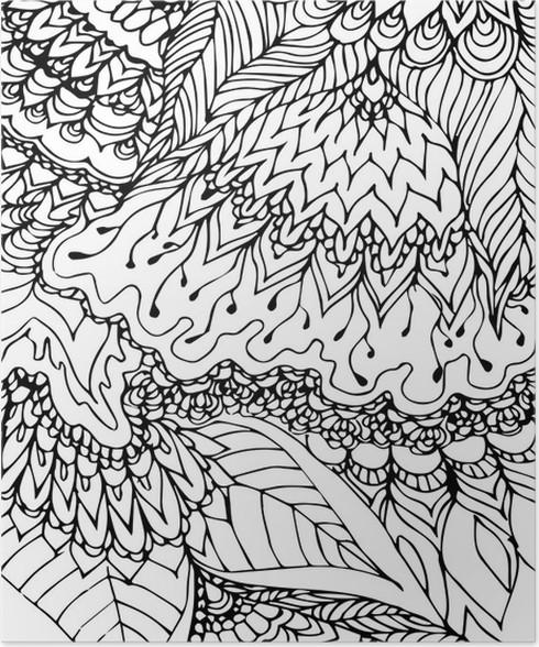 poster mod u00e8le noir et blanc  dessin doodle  motif tir u00e9 par
