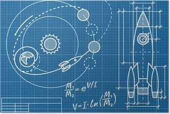 Póster Modelo de la nave espacial y de su trayectoria de vuelo