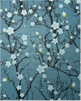 Póster Modelo del árbol sin fisuras. Flor de cerezo japonés