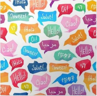 """Póster Modelo inconsútil - burbujas del discurso con """"Hola"""" en diferentes idiomas"""