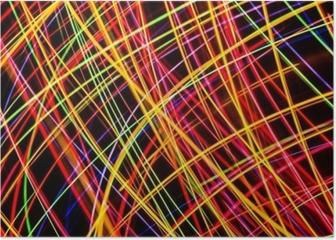 Modern art. Long exposure neon lights texture. Poster