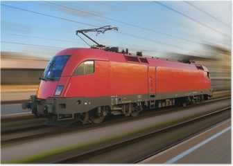 Modern european electric locomotive with motion blur Poster