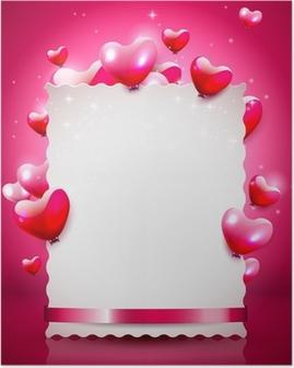 Poster Modern fond Saint-Valentin avec un papier vide de coeurs de vol