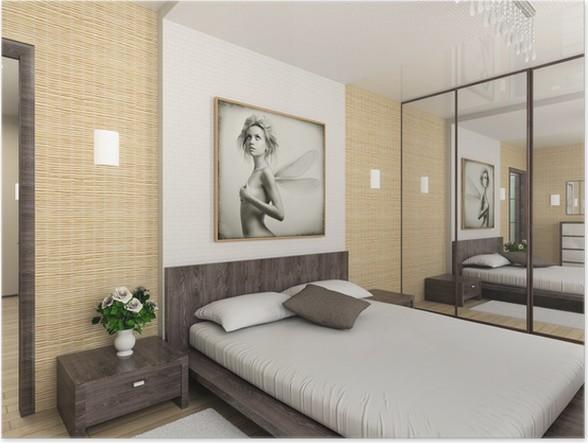 Poster Modern interieur. 3D render. Slaapkamer. Exclusieve Design ...