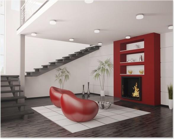 kamin modern wohnzimmer, modern interior wohnzimmer mit kamin und treppe 3d render poster, Design ideen