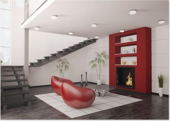 Modern Interior Wohnzimmer Mit Kamin Und Treppe 3d Render Poster   Private  Buildings