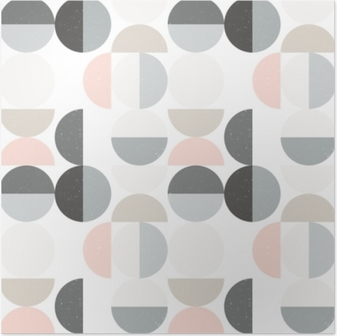 Modern vector abstract seamless geometric pattern with semi circles and circles in retro scandinavian style Poster