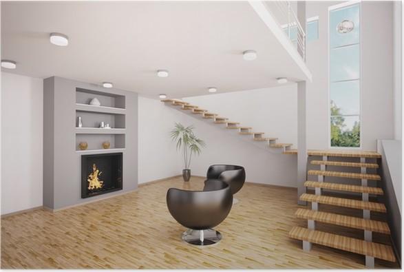 Modern Wohnzimmer Mit Kamin Interior 3d Render Poster
