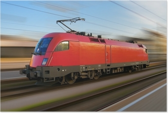 Poster Moderne Europese elektrische locomotief met motion blur
