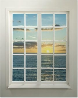 Poster Moderne venster woonwijken met zonsondergang over zee en wolken